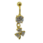SL Belly Button Piercing Golden Collection-Leaf Clover Crystal