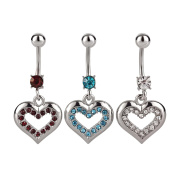 SL Collection Set of 3 Crystal Heart Belly Bar
