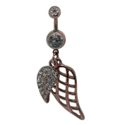 SL Collection Crystal Wings rose gold belly bar