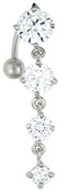 14g Sexy Reverse Mount Dangle Belly Button Ring with Cascade of Clear Crystal Gems
