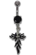 Belly Bar Navel Piercing Surgical Steel Flaming Cross with Black Crystal