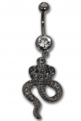 COBRA Surgical Steel Belly Bar Navel Piercing with Green Crystals