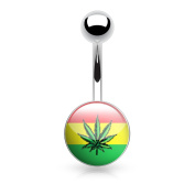 Navel Piercing 316L Surgical Steel – Epoxy and Flag Jamaica Canabis