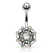 HBJ Unisex Sign Belly Bar Stainless Steel Brass with Clear Crystal Polar Light 1.6 mm x 10 mm N15811