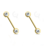 Blue Palm Jewellery - Nipple Adult Pair Of 14 Gauge 1.4cm 316L Double Cz Titanium Ip Over Stainless Steel Nipple Barbell F95