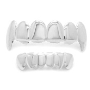 Men's Silver Plated Ultra Bling Top w/ Fang and Bottom Six Teeth Grillz High Polish Hip Hop Gangsta