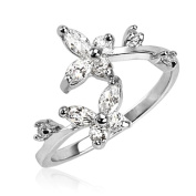 Blue Palm Jewellery - Sterling Silver Clear CZ Butterfly Adjustable Toe Ring 1.4 Grammes of 925 Sterling Silver