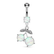 Blue Palm Jewellery - Synthetic Opal Glitter Centre Cherry Dangle Surgical Steel Belly Button Navel Rings B542