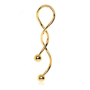 Blue Palm Jewellery - Belly Rings Adult 1 - Gold 14 Gauge Pvd Plated Spiral Navel Belly Button Ring By2