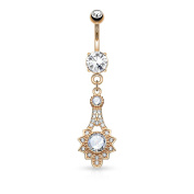 Blue Palm Jewellery - Micro Pave CZ Tribal Sun Belly Button Navel Ring Dangle Stainless Steel B524