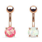 Blue Palm Jewellery - 2 - Synthetic Pink and White Opal Glitter Prong Set Rose Gold IP Surgical Steel Belly Button Ring B531