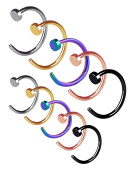 Mudder Stainless Steel Nose Ring Hoop Nose Stud Body Jewellery Piercing, 20 Gauge, 10 Pieces