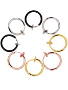 Mudder Fake Earrings Hoop Non-pierced Nose Ring Lip Ear Clip Body Jewellery, 4 Pairs