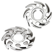 Silver-Plated Brass Fake Nipple Ring with Tribal Design