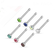 """Blue Palm Jewellery - Nose Adult 7 Pcs 20Ga (0.8Mm) 1/4"""" (6Mm) Of Assorted 316L Surgical Steel 2Mm Cz Nose Bone Studs N57"""