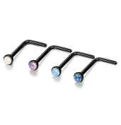 Sailimue 4 Pcs Stainless Steel Nose Rings Body Piercing Pins Jewellery Opal Studs