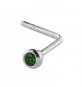 Mia Gioielli - Nose jewellery, silver nose studs with green emerald Cubic Zirconia 1.50 , 05517-A000-G