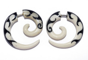 """Hand-Carved Horn Black on White Wave Spiral Fake Gauges - 2.6x2.6cm (1.0""""x1.0"""") Faux Tunnel Earrings - Street Habit Jewellery"""