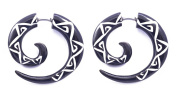 """Hand-Carved Horn White on Black Flowers Spiral Fake Gauges - 2.6x2.6cm (1.0""""x1.0"""") Faux Tunnel Earrings - Street Habit Jewellery"""