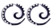 """Hand-Carved Horn White on Black Spiral Fake Gauges - 2.6x2.6cm (1.0""""x1.0"""") Faux Tunnel Earrings - Street Habit Jewellery"""
