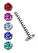 Piercing Steel Set, 1 x Labret with 4 mm Balls 1.2 mm X 6 mm Coloured + 5 Plate