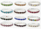 TOOKY 12pcs Elastic Crystal Toe Ring Mixed Colour Wholesale Lot Body Jewellery Pack