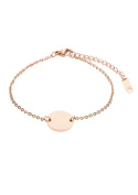 Happiness Boutique Women Circle Bracelet in Rose Gold | Geometric Bracelet Dainty Chain and Round Pendant