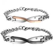 """Cupimatch 2PCS Stainless Steel """"I was born to love you"""" Identification Love Infinity Symbol Link Chain Couples Bracelet for Men Women"""
