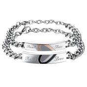 Cupimatch 2PCS Couples Bracelets Set Stainless Steel Real Love Heart Puzzle Matching Link Chain Bracelet for Men Women