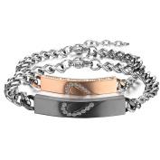 Cupimatch 2PCS Couples Bracelets Set Stainless Steel Love Heart Matching Identification Valentine Engagement Gift Link Bracelet for Men Women