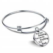 lauhonmin Bangle Bracelets Jewellery for Women Mens Birth Gift You are Amazing You Can Do Anything You Rock