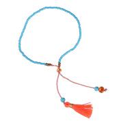 KELITCH Jewellery Blue Beads Chain Crystal Stone Thin Rope Bracelet with Orange Tassel