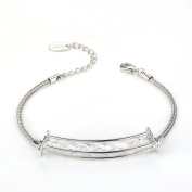 """Menton Ezil """"Lucky Six"""" White Gold Plated Women Bracelet Made With White Crystal Adjustable Hand Chain Women Jewellery Love Gifts For Girls and Women - Bring Luck and Energy"""