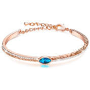 """Menton Ezil """"Light of Galaxy"""" 18K Rose Gold Plated Bangle Crystal Bracelet for Womens Jewellery Element Adjustable Chain Gifts For Girls"""