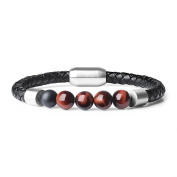 Leather Bracelet with Genuine Black Matte Onyx Tiger Eye Stones Beads 21.5cm