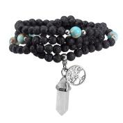 JSDDE 108 6mm Natural Lava Rock Stone Tibetan Buddhist Prayer Mala Beads Buddha Yoga Meditation Wrap Bracelet/Necklace