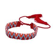 KELITCH Wave Pattern Seed Bead Woven Friendship Bracelet with Tassel - Red