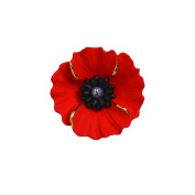 The Peace Poppy Collection, Enamel Rhodium Plated with 18ct Gold Highlights Medium Brooch set with Crystal
