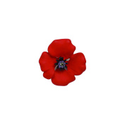The 4 Petal Poppy Collection, Enamel Rhodium Plated Small Brooch set with Crystal