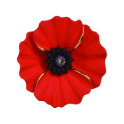 The Peace Poppy Collection, Enamel Rhodium Plated with 18ct Gold Highlights Large Brooch set with Crystal