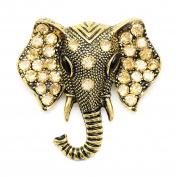 KristLand - Animal Elephant Vintage Brooch Pin with Austrian Crystals