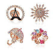 Sewanz Women's 4 Pcs Rhinestone Brooch Pins Set,Collar Decorations Gift for Wedding Party
