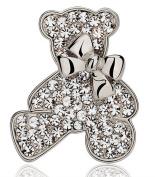 KristLand - Cute Teddy with Clear Rhinestones Bear Bowknot Brooch Pin