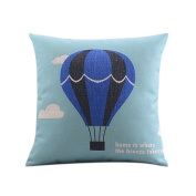 SESO UK- Nordic Style Cartoon Cotton And Linen Pillow Bedside Lumbar Hot Air Balloon Cushion (18 Inches * 18 Inches, 45 * 45 Cm)
