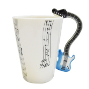 Giftgarden Porcelain Coffee Mugs White Mug With Music Notes And Guitar Design