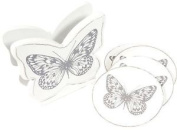 4 White Shabby Chic Wooden Butterfly Coasters Grey Table Decor Coffee Drink Mat