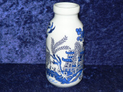 Mini blue willow ceramic Milk Bottle decorated all round with willow pattern design
