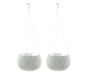 Keter Knit Cosies Hanging Baskets Plant Pot Planters, Small - Oasis White, Pack