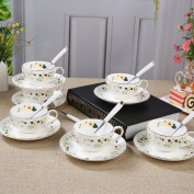 Touch Life Bone China Teacups/Coffee Cups & Saucers Sets with Spoons-310ml, for Home, Restaurants, Display & Holiday Gift for Family or Friends,Set of 6,with a gift box
