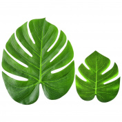 Blulu 12 Pieces Imitation Palm Leaves Tropical Plant Leaves Fabric Leaves for Hawaiian Luau Party Jungle Beach Theme Decoration, 20cm and 35cm